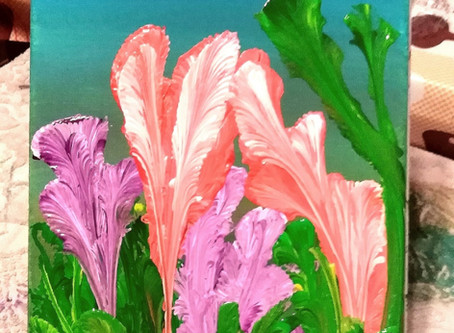 20x30cm Acrylic on blockmounted canvas.... Orange and Purple flowers