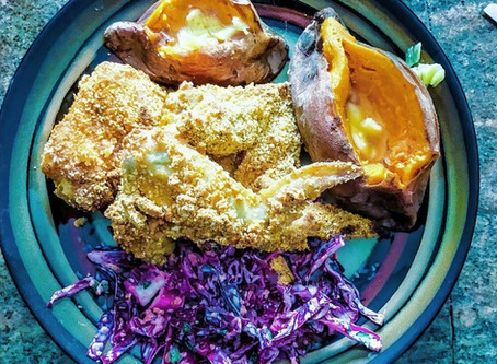 Breaded Red Hot Wings with Purple Slaw and Baked Sweet Potatoes