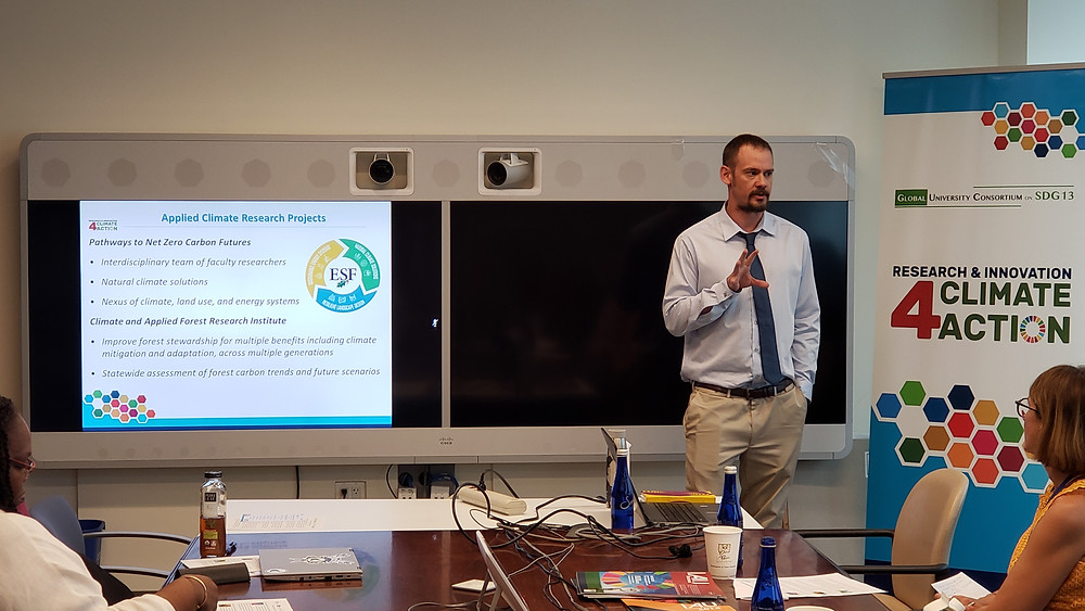 Mr. Justin Heavey of the State University of New York's College of Environmental Science and Forestry presents on the application of research to SDG 13.