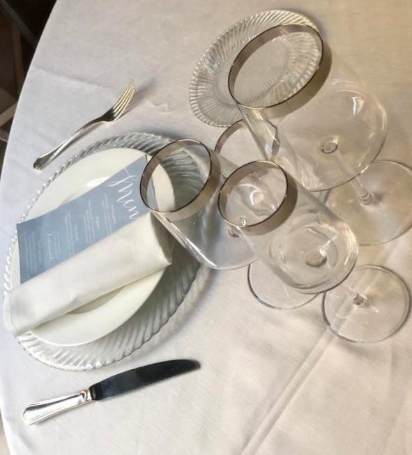Mise en Place elegante, luxury wedding, dusty blue, silver