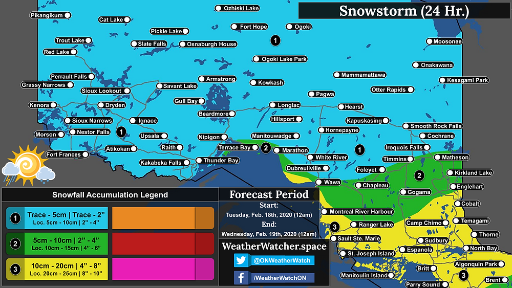 Snowfall Forecast, for Northern Ontario. Issued February 17th, 2020.