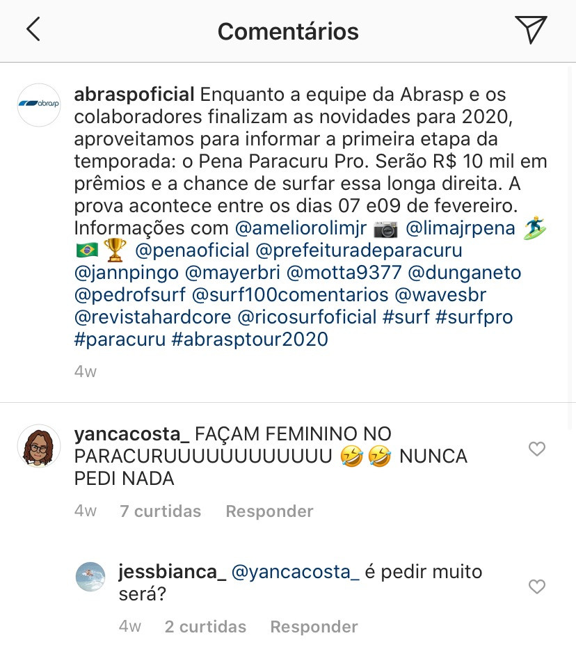 Comentários em post da ABRASP no Instagram