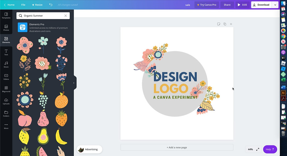 A finished logo using Canva's free logo maker.