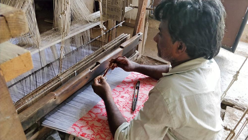 Red Handloom Himroo shawl Aurangabad India