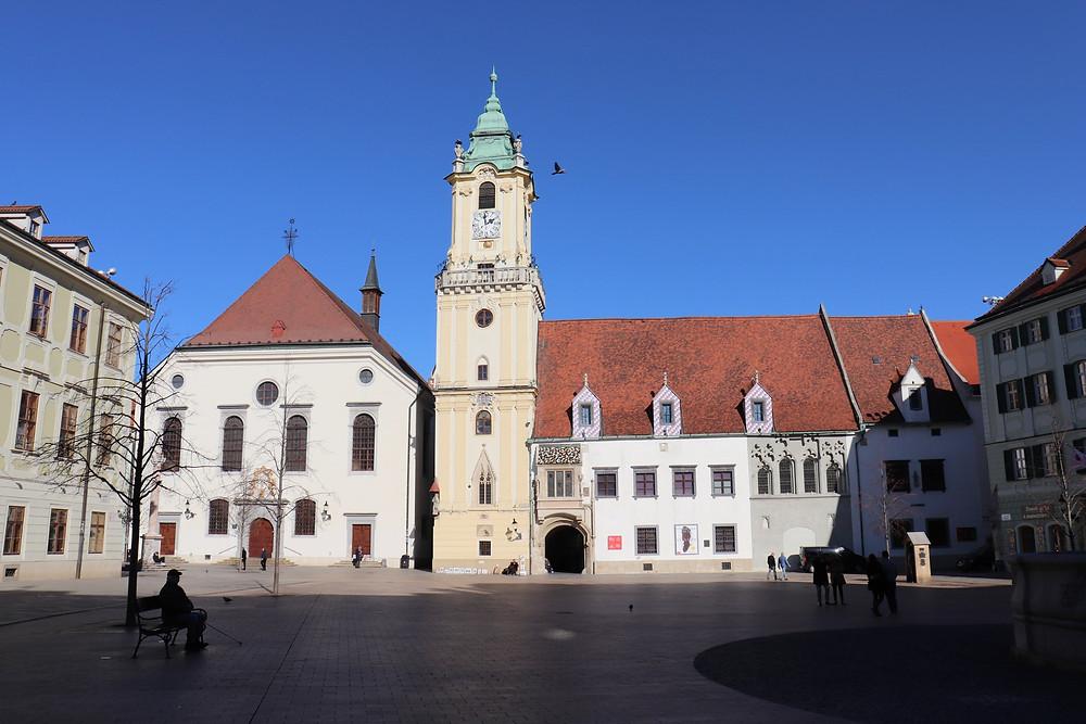 Hlavné námestie main square in the old town Bratislava Slovakia