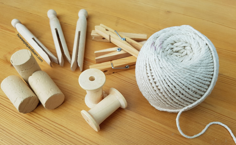 loose parts, twine, pegs, corks
