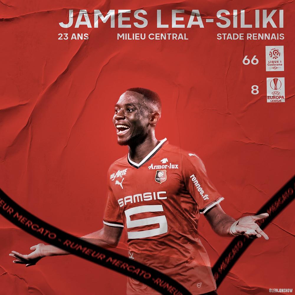 James Léa-Siliki, milieu du Stade Rennais. Visuel réalisé par Thomas Jobard