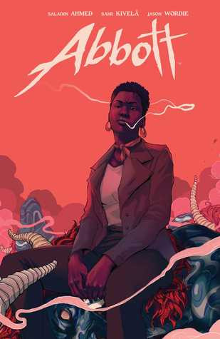 on this book cover, a black woman sits casually smoking on the corpse of a monster
