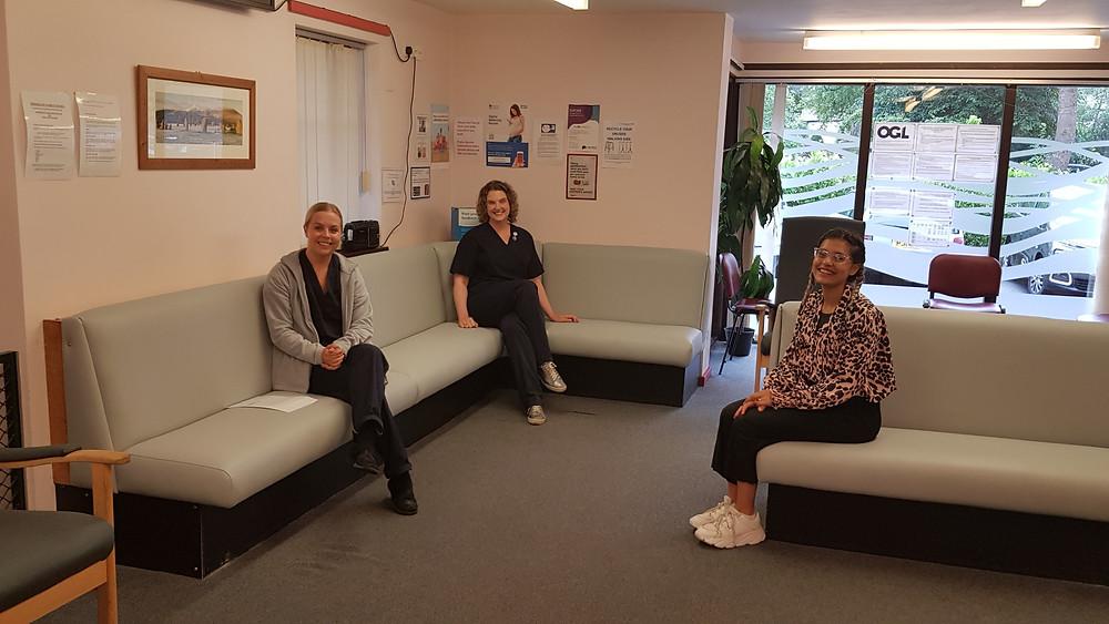 Chloe O'Neil, Health Care Assistant; Dr Clare Haslam; Amy Kelland, Wellbeing Coach