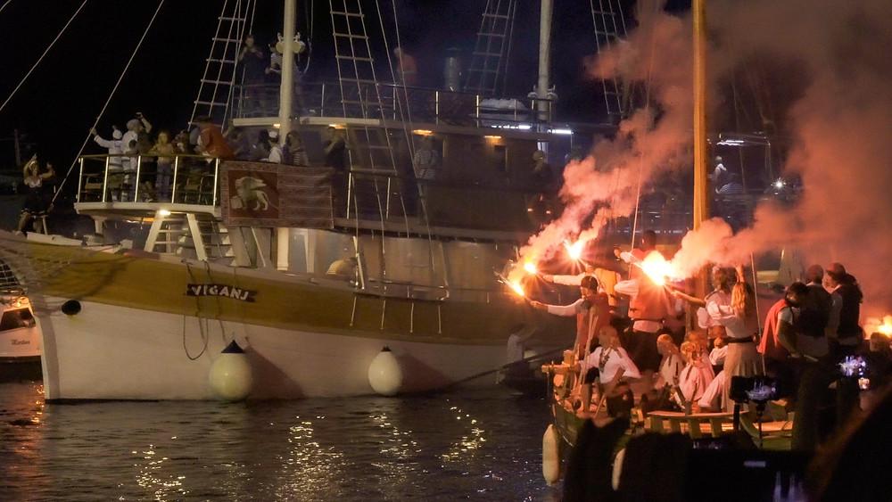 The reenactment of the naval battle in Makarska harbour in Croatia celebrates pirates