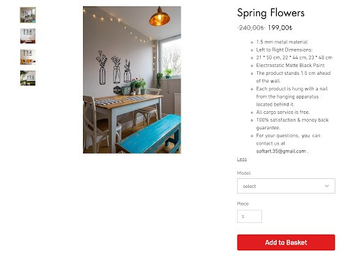 Soft art home spring flowers product page
