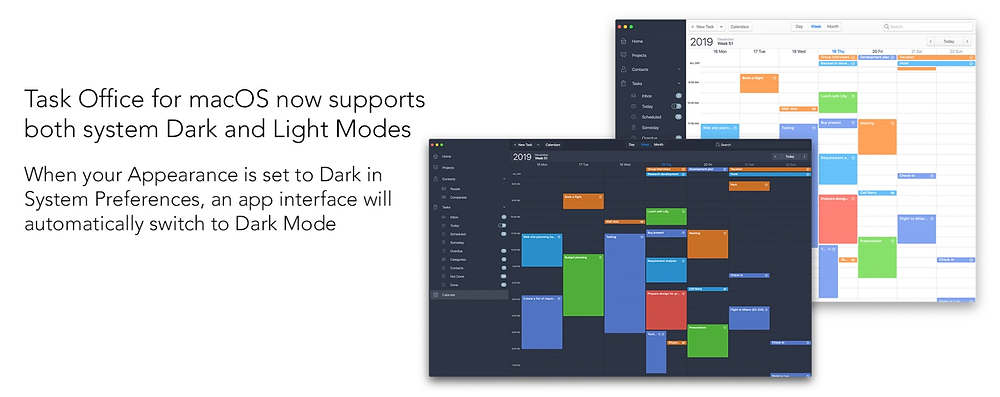 Task Office for macOS now supports both system Dark and Light Modes. When your Appearance is set to Dark in System Preferences, an app interface will automatically switch to Dark Mode.
