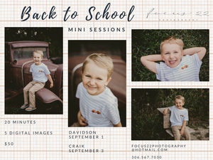 Back to School Mini Sessions - Portrait Photographer, Saskatchewan