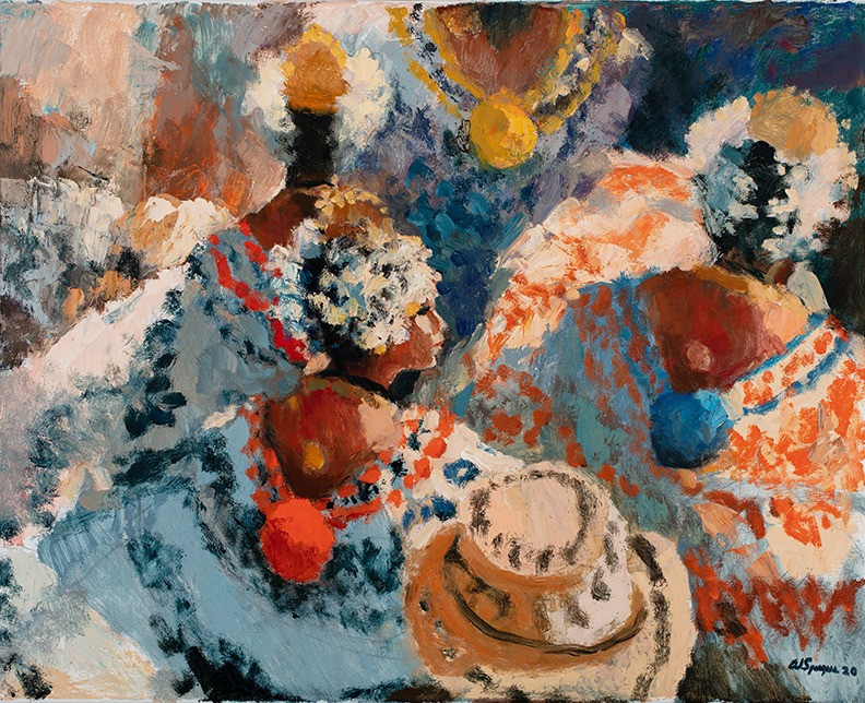 Painting by Al Sprague showing pollera dancers from the back
