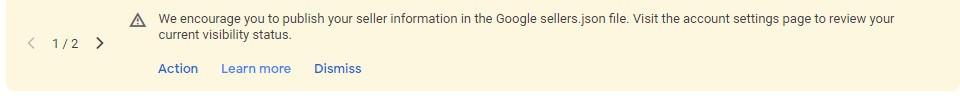 Google adsense seller.json notification