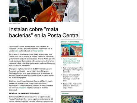"Publimetro | Instalan cobre ""mata bacterias"" en la Posta Central"