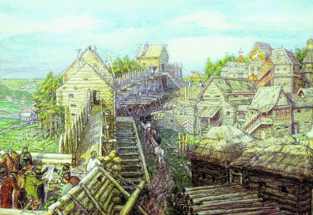 Строительство деревянных стен Кремля. XII век (1903 год)