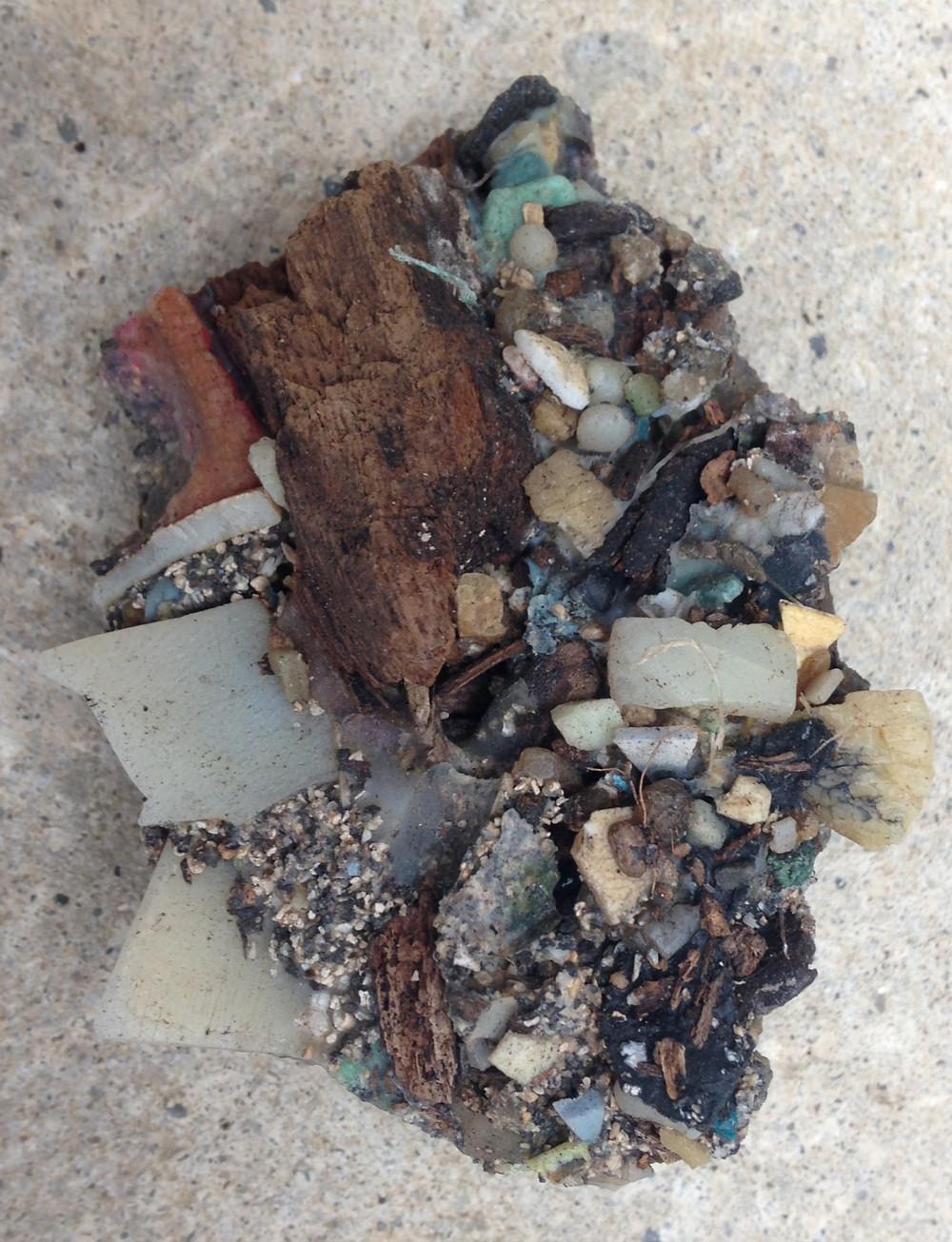 Plastiglomerate from Kamilo Beach, Hawaii. Photo by Patricia Corcoran, University of Western Ontario