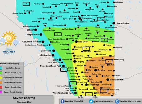 Severe Thunderstorms Possible in Alberta & Saskatchewan; Damaging Winds, Large Hail, Tornado Threat