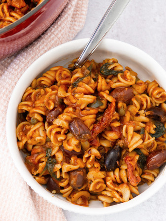One-Pot Mediterranean Pasta with Olives, Sun-dried Tomatoes, & Capers - Vegan