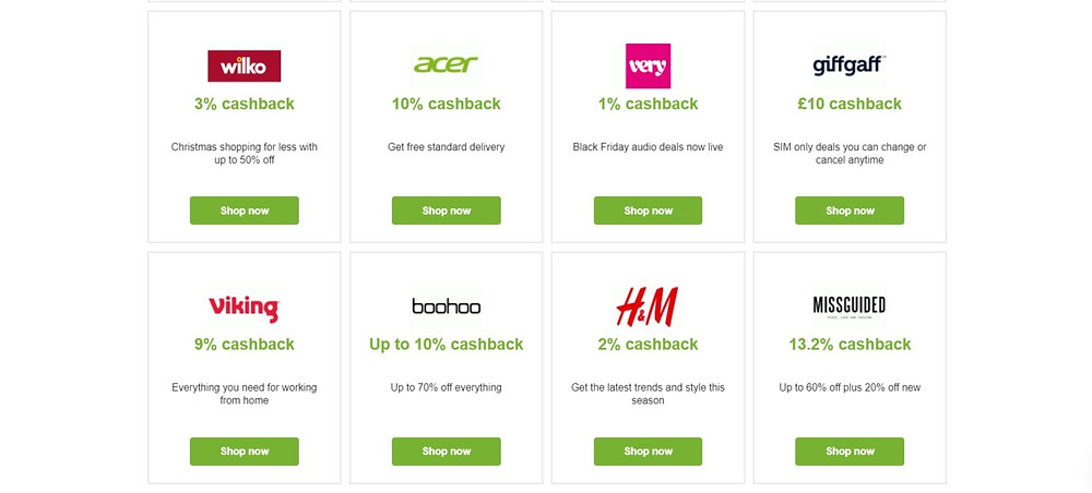 Cashback offers with Quidco