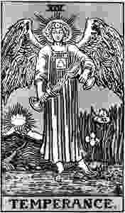 XIV Temperance from the Rider Waite Smith Tarot, published by U.S. Games Systems, Inc.