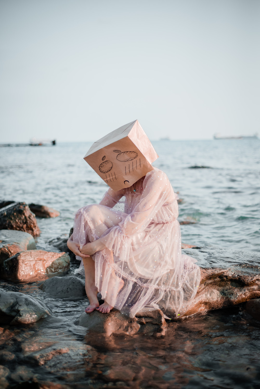 Woman in a pink dress on rocks by the ocean with a sad face drawn on a paper bag loosely over her head before getting treatment for depression in counseling in Englewood CO. You can get depression treatment in Denver CO with Catalyss Counseling 80209 and 80210
