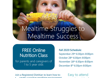Free Online Nutrition Classes for Parents and Caregivers - Fall 2020 schedule