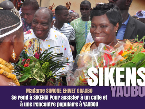 SIKENSI 2019 : MADAME SIMONE EHIVET GBAGBO PARTICIPE A UN CULTE ET A UNE RENCONTRE POPULAIRE