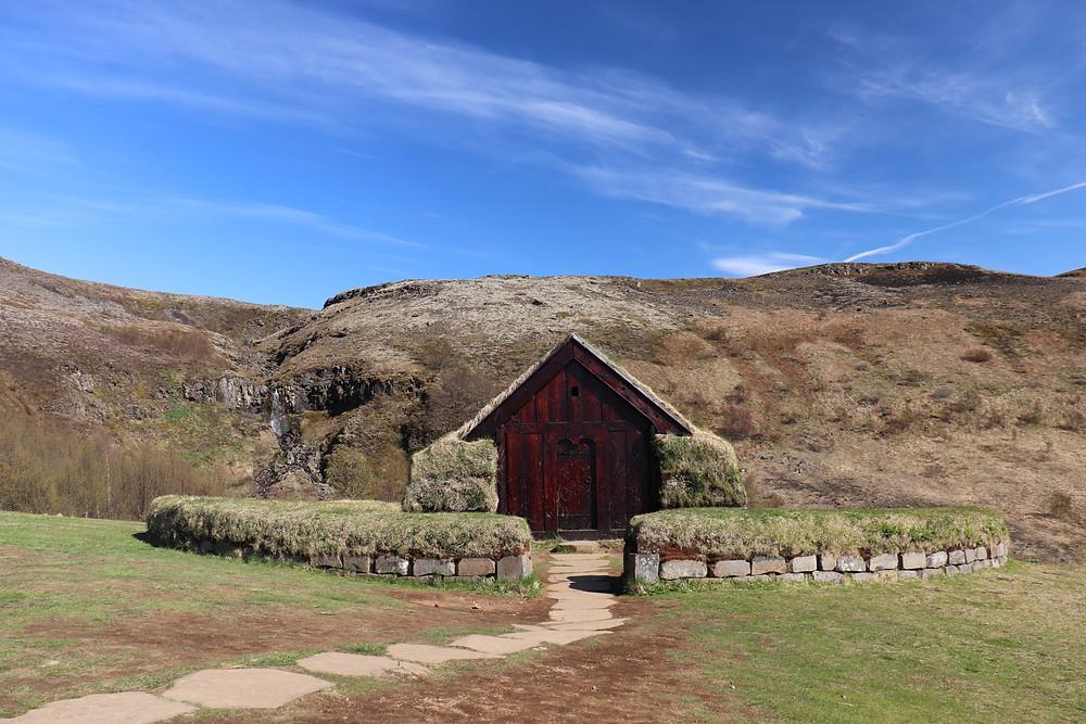 Reconstructed viking village in Iceland Þjóðveldisbærinn Stöng