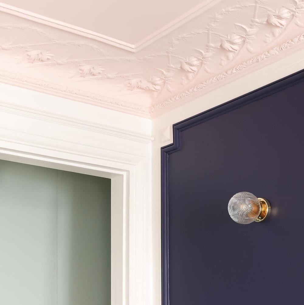 detail color blocked Haussmann paris apartment Heju studio