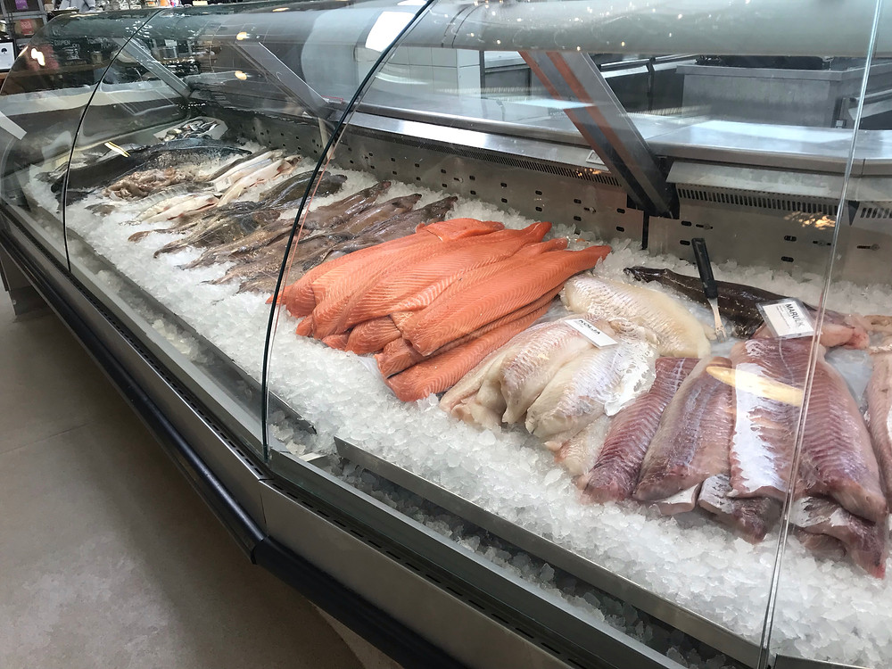 "Fresh Fish in the Counter at ""Kville Saluhall"" in Gothenburg, Sweden. Here you can find fresh fish and shellfish!"