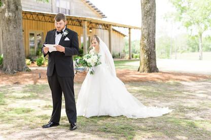 auburn bride and groom first look