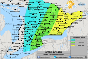 Thunderstorm Outlook, for Southern Ontario. Issued May 22nd, 2019.