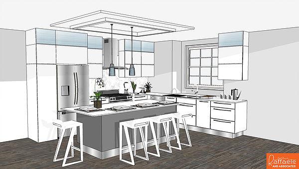 Print de um projeto de interior de uma casa no SketchUp