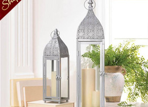 12 Bulk Lot Large Silver Moroccan Lanterns Wedding Centerpieces
