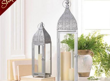 12 Bulk Lot Large Silver Moroccan Lanterns Wedding Centerpieces