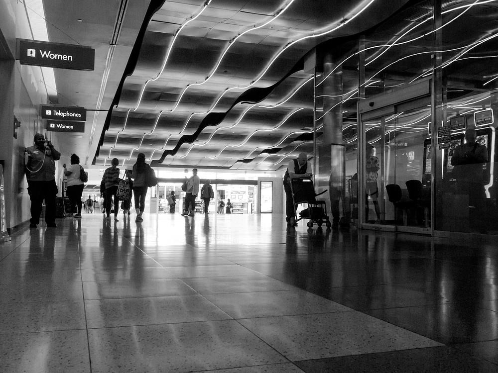 People walking through the Las Vegas airport