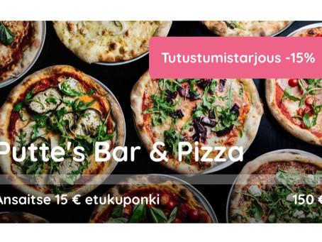 Putte's Bar & Pizzan tutustumistarjous -15%