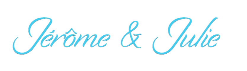 Blue cursive font spelling out Jerome and Julie