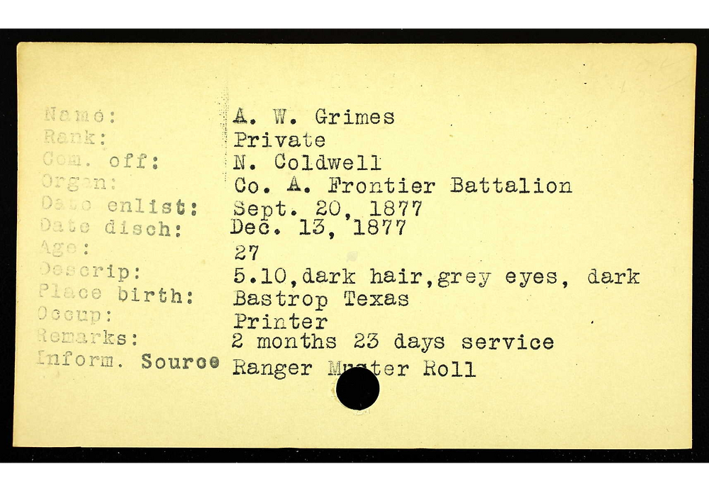 A.W. Grimes Enlistment in Texas Rangers