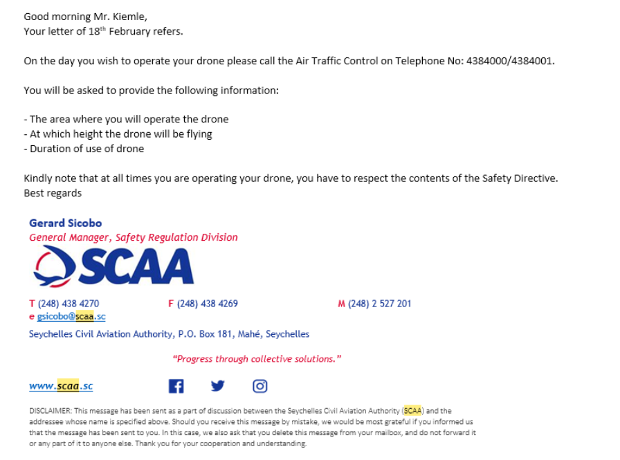 Response Letter from SCAA for Seychelles drone permit