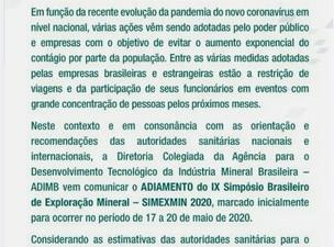 ADIOU: IX SIMPÓSIO BRASILEIRO DE EXPLORAÇÃO MINERAL – SIMEXMIN 2020