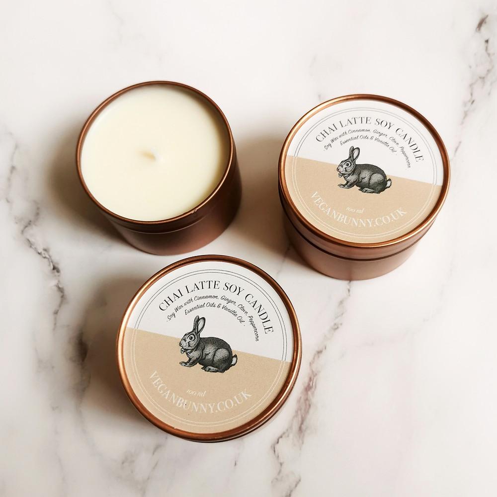 Chai Latte Spiced Vegan Candle - Yay Vegan Gift Hamper
