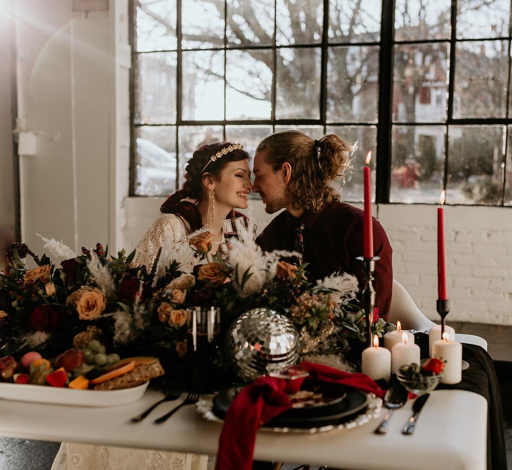 boho wedding, dark and moody, styled elopement shoot, 2020 elopement