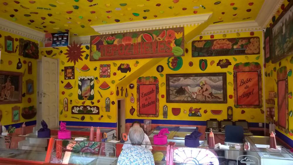 Colourful ice cream shop Tepoznieves in Tepoztlan near Mexico City, Mexico