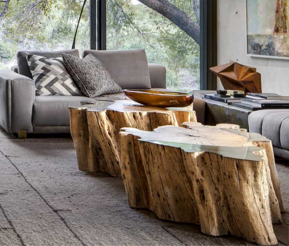 tree trunk table for organic interior designs. lakkadworks