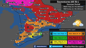 Snowfall Forecast, for Southern Ontario. Issued January 17th, 2020.