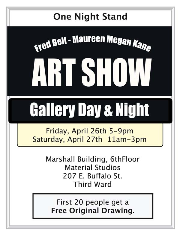 Ad for pop up art show gallery night in Milwaukee, Wi April 26, 27, 2019