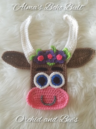 boho bull crochet pattern applique